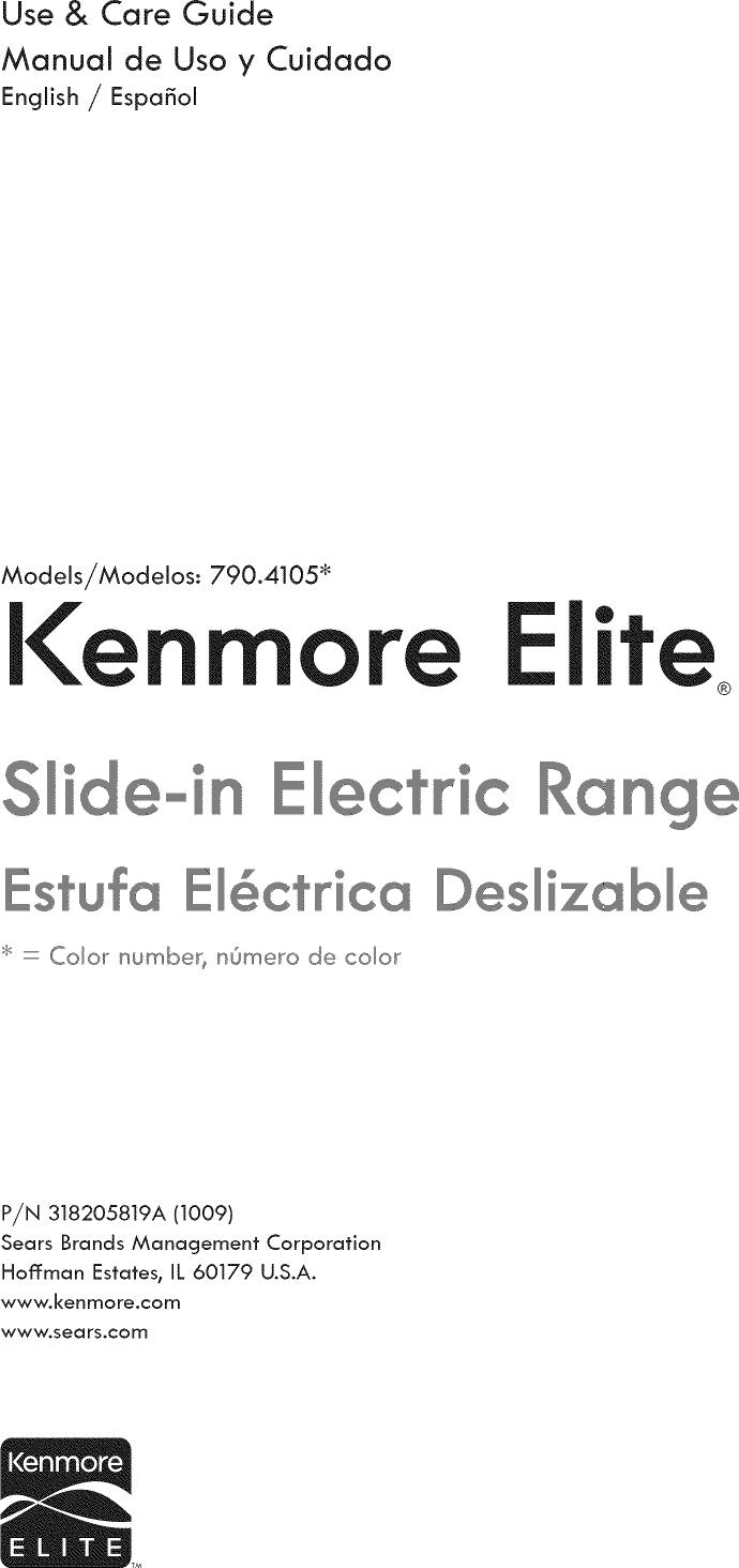Kenmore Elite 790 Electric Oven User Manual