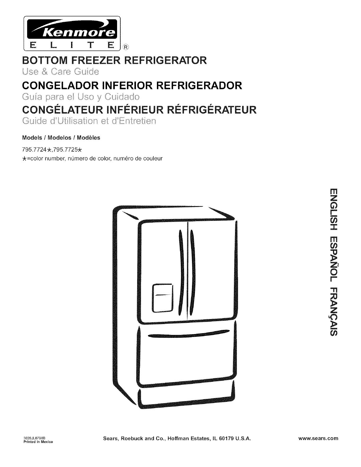 Kenmore Elite 79577563600 Bottom Mount Refrigerator Parts Sears Partsdirect