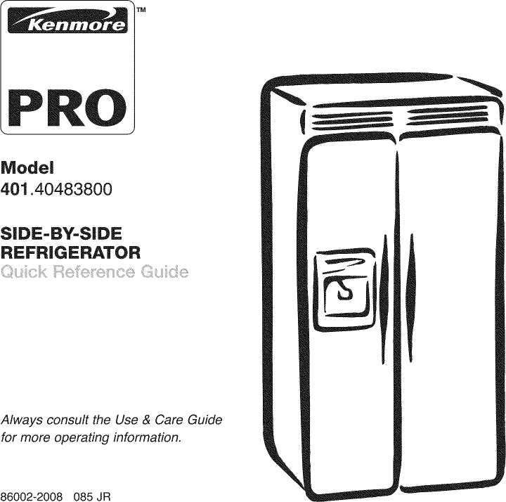 Kenmore Pro 40140483800 User Manual REFRIGERATOR Manuals