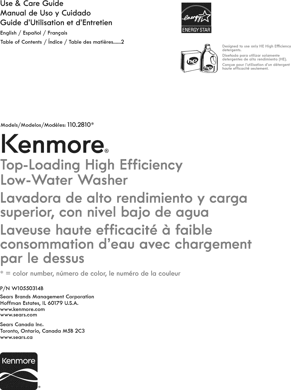 Kenmore 11028102310 User Manual AUTOMATIC WASHER Manuals And Guides ...