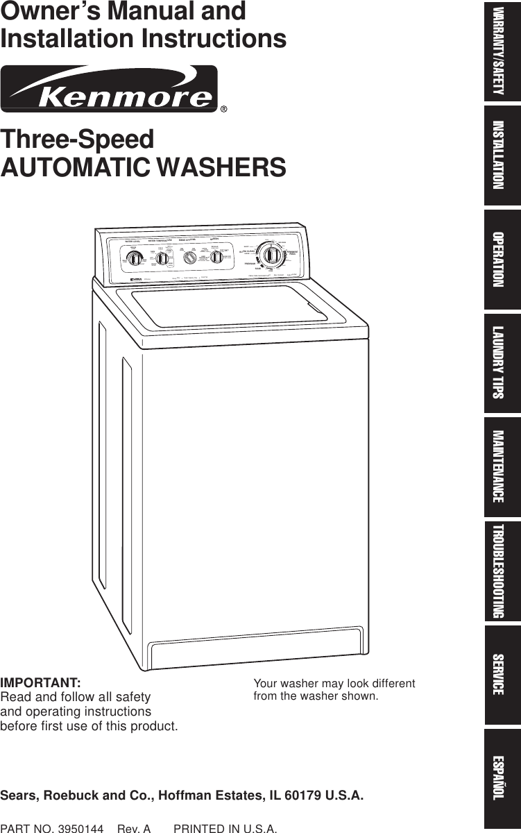 Kenmore 11029852990 User Manual AUTOMATIC WASHER GALAXY Manuals ...