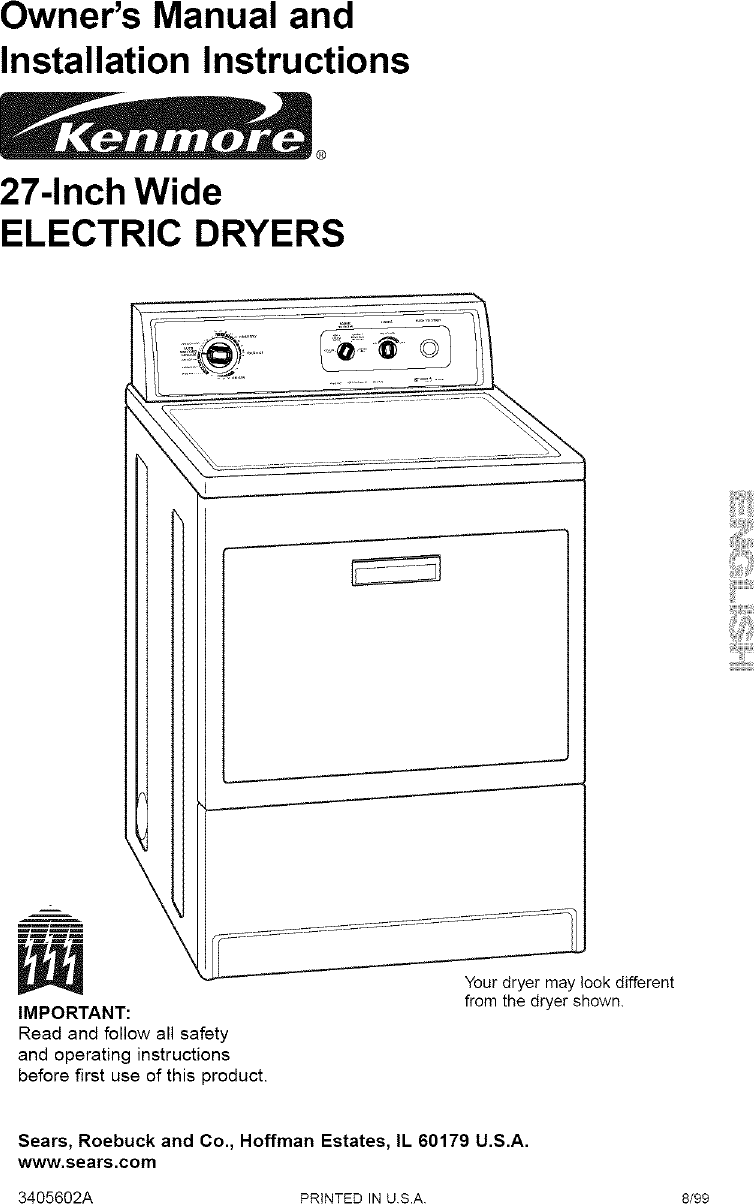Kenmore Dryer Diagram Manual Guide