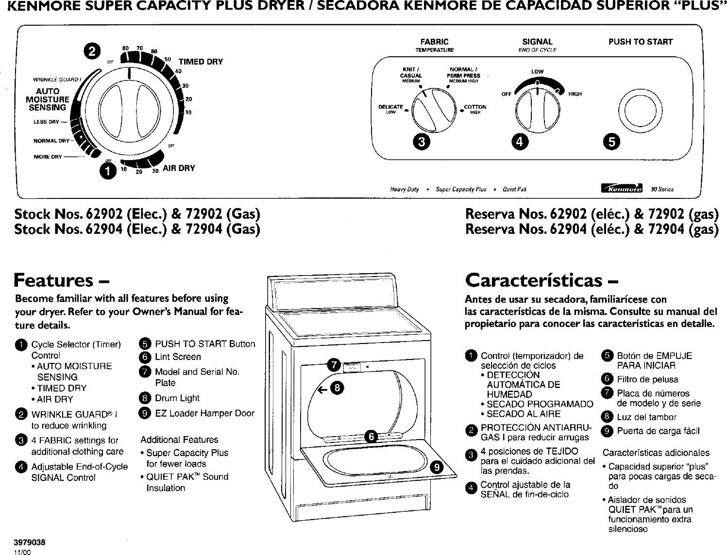 Kenmore Dryer Diagram Control Trusted Schematics 11062902100 User Manual Electric Manuals And Guides Model 110 Schematic