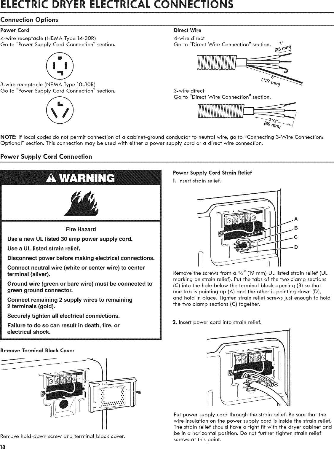 Kenmore 11081932510 User Manual Commercial Electric Dryer Manuals 10 3 Wire For Diagram Electrical Connectionsconnection Optionspower Cord4 Receptacle Nema Type 14 30r