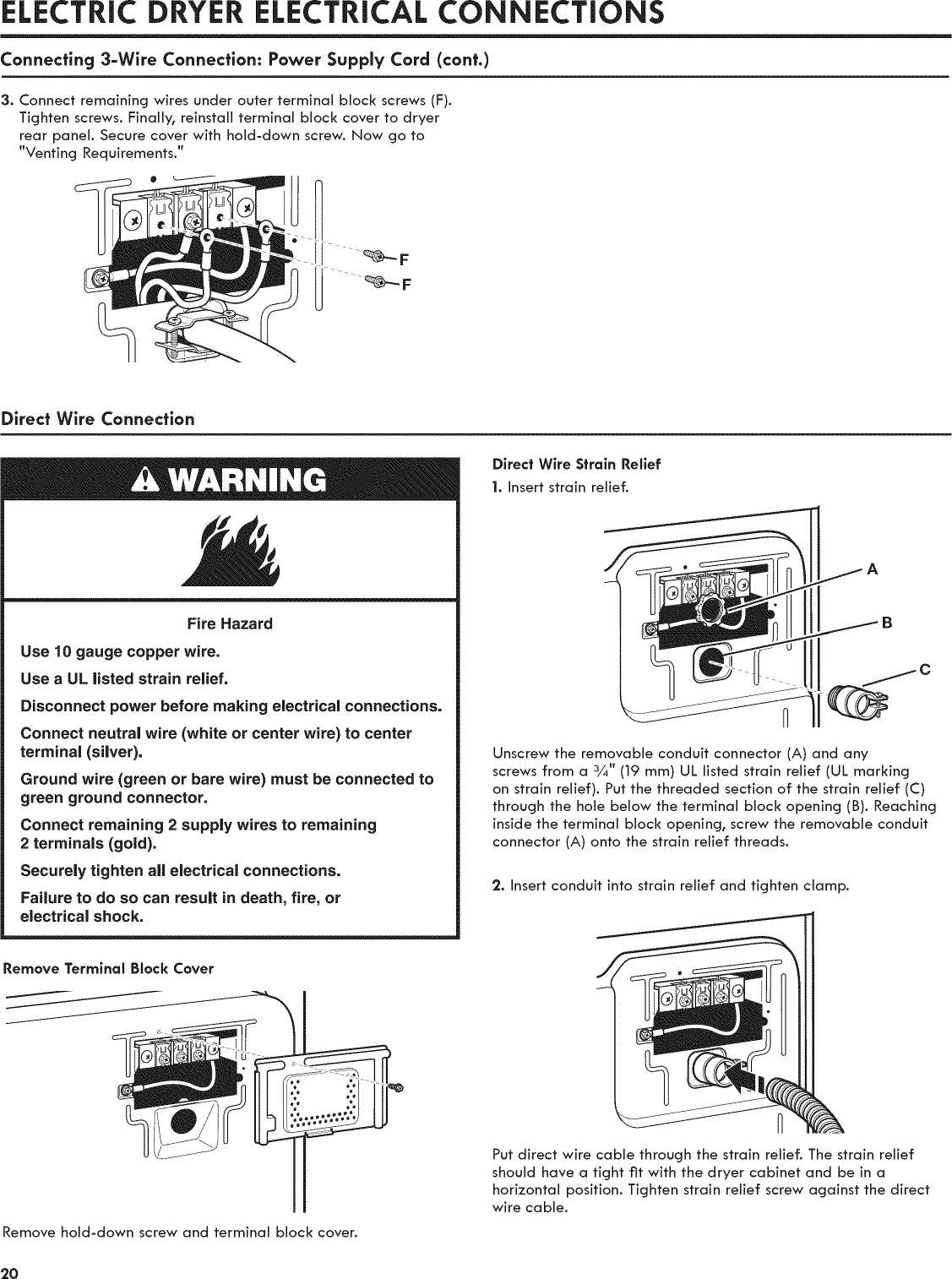 Kenmore 11081932510 User Manual Commercial Electric Dryer Manuals Diagram 3 Wire Power Cord Electrical Connectionsconnecting 3wire Connection Supply Cont