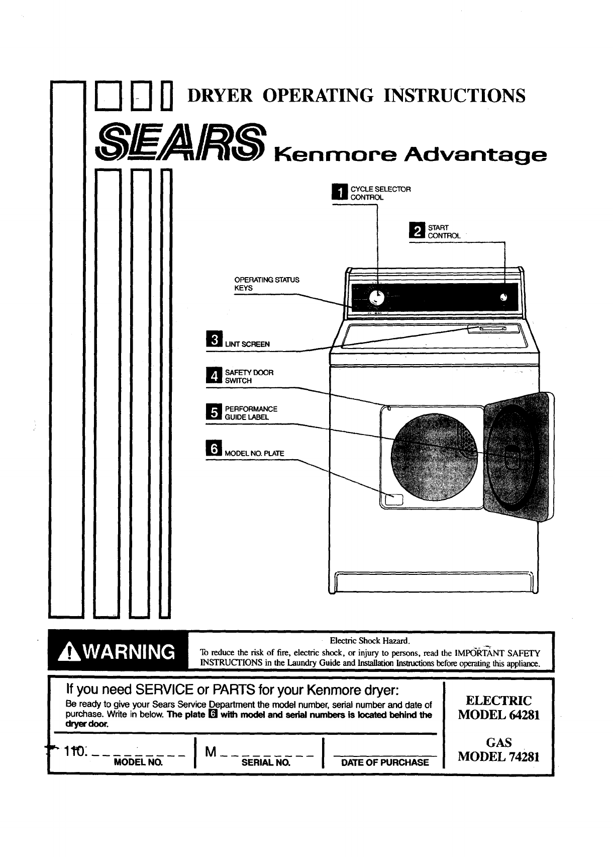 Kenmore Dryer Diagram Control Trusted Schematics Gas Parts On 70 Series 11096428800 User Manual Feature Sheet Manuals And