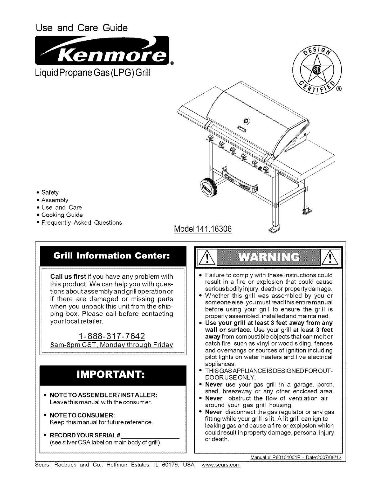 Kenmore 14116306 User Manual LPG GRILL Manuals And Guides