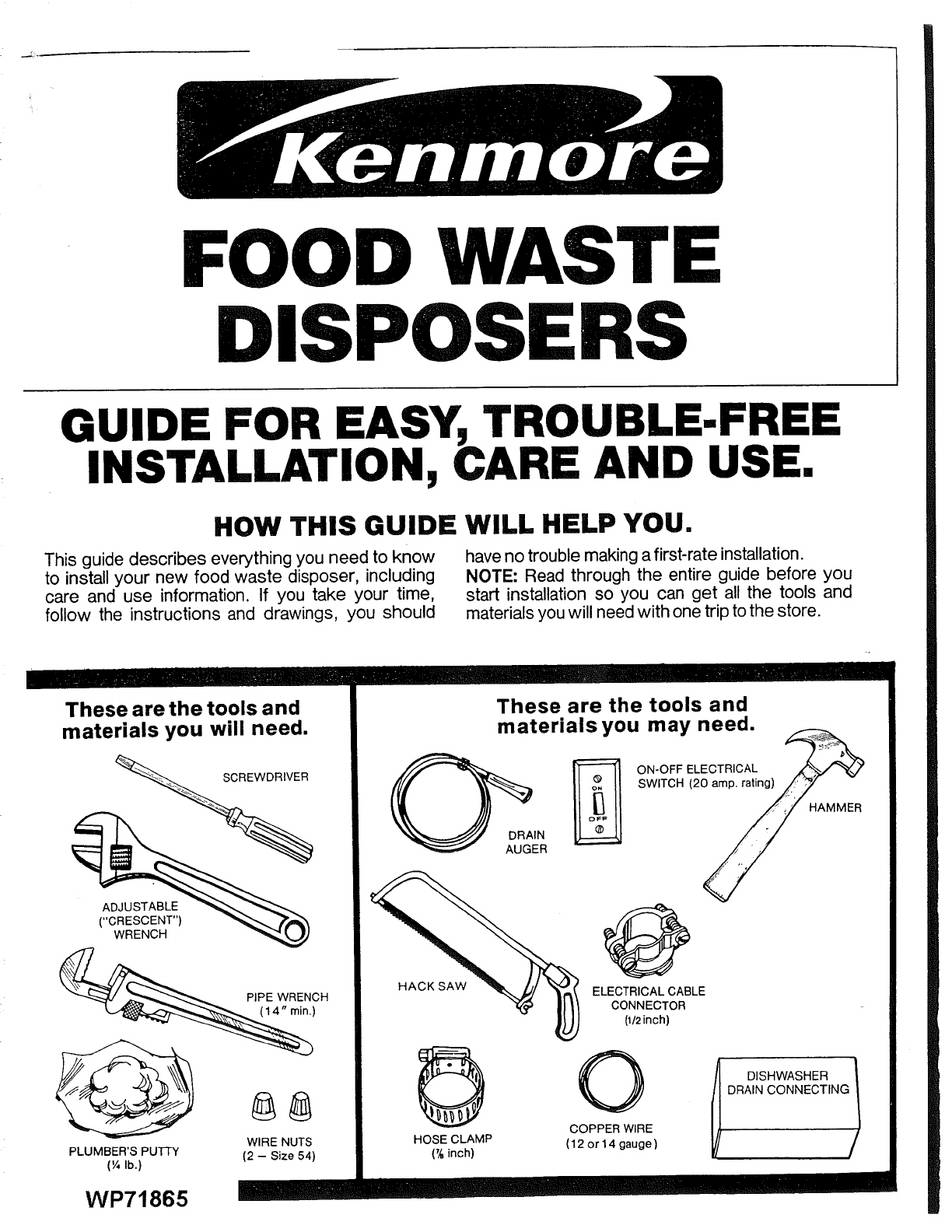 Kenmore 17560450 User Manual Disposer Manuals And Guides