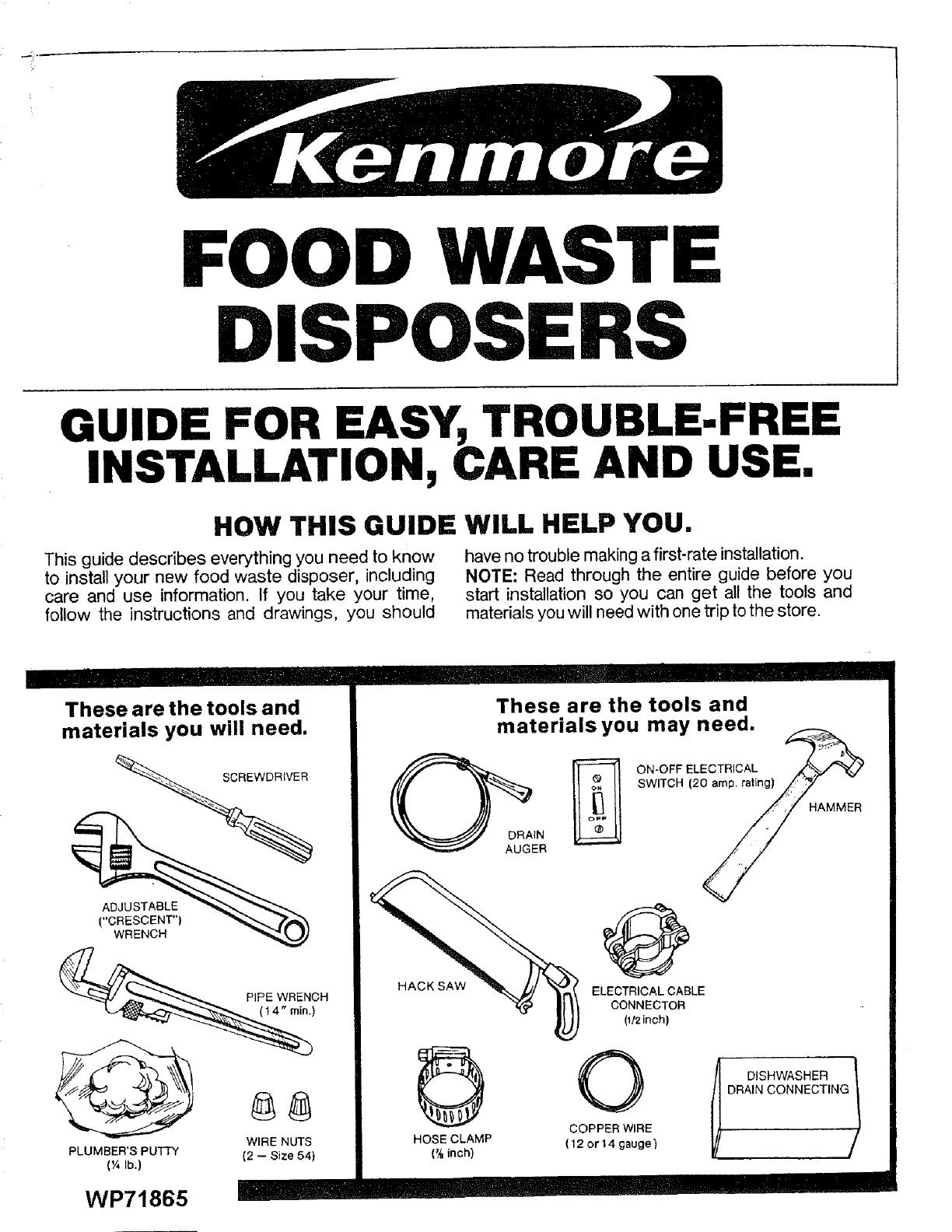 Kenmore 17560514 User Manual Disposer In Sink Erator Manuals And Guides L0712592