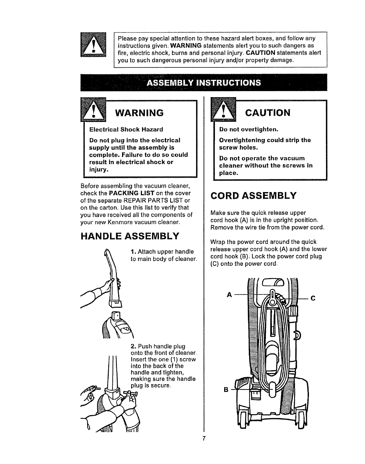 Kenmore 21637000700 User Manual Vacuum Manuals And Guides L0710421 Sears Cleaner Wiring Diagram Please Pay Special Attention To These Hazard Alert Boxes Follow Any