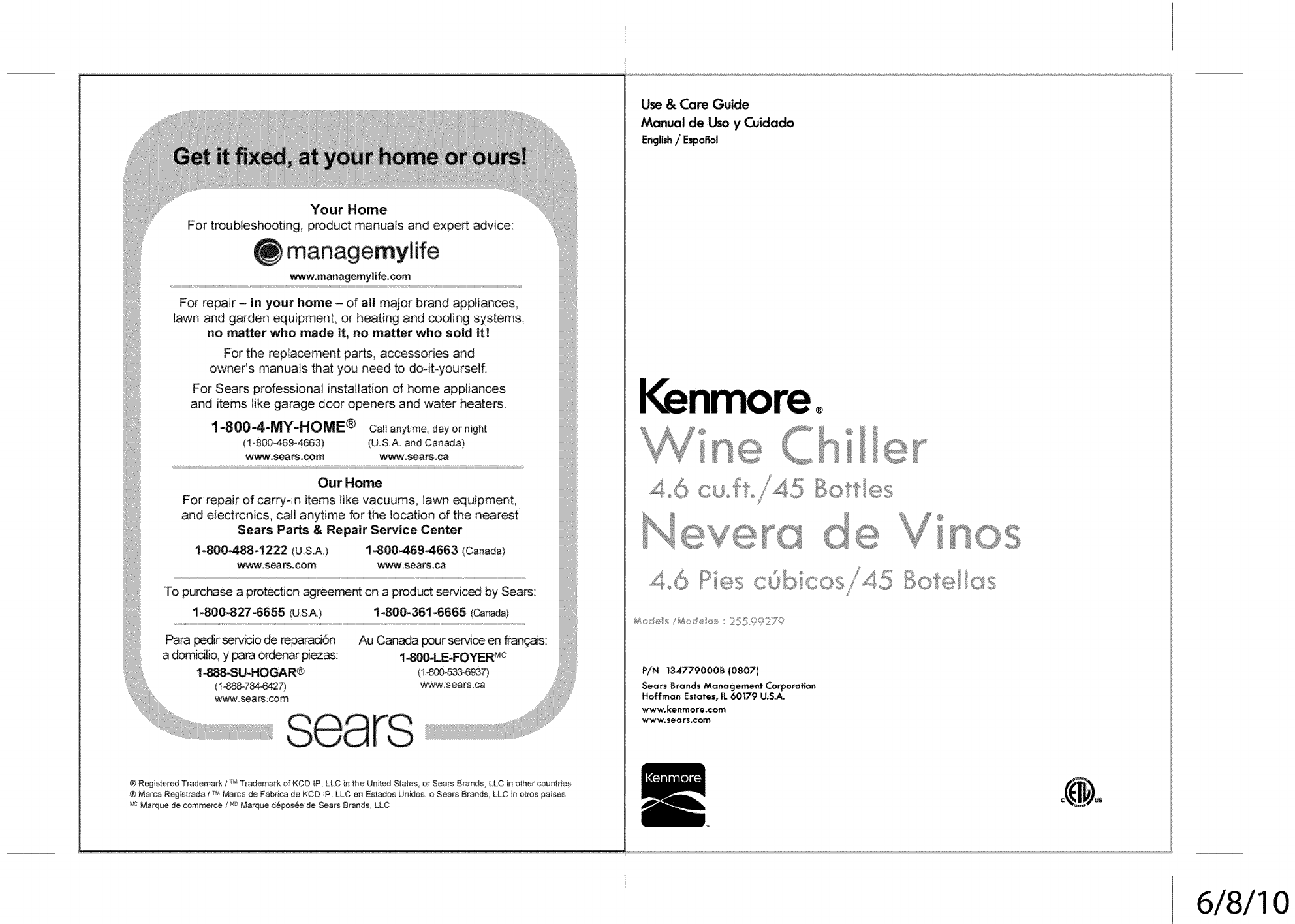 Kenmore 25599279 User Manual Wine Cooler Manuals And Guides 1401219l Wiring Diagram