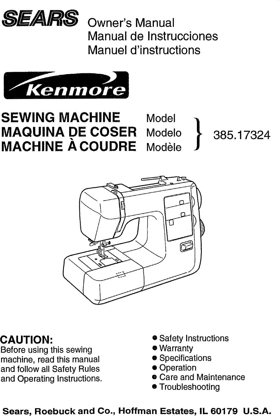 Kenmore 38517324990 User Manual Sewing Machine Manuals And Guides L0804195