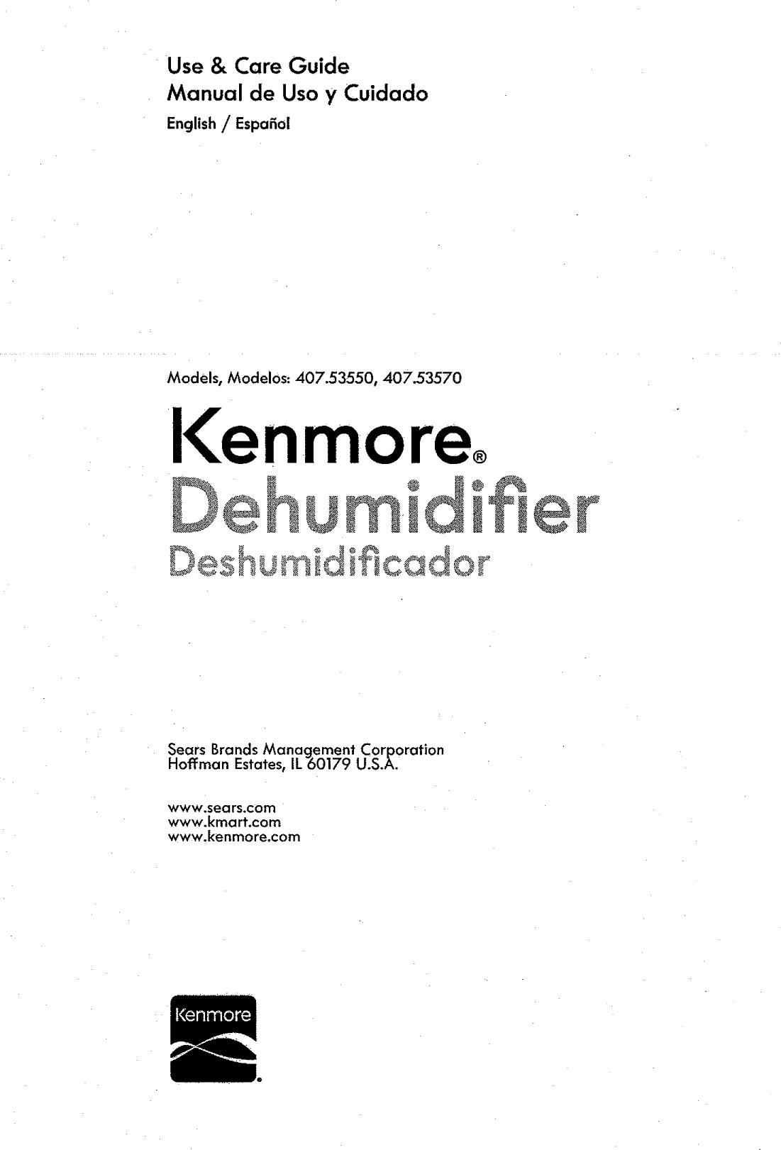 Kenmore 40753550310 User Manual 50 PINTS RATING LABEL Manuals And ...