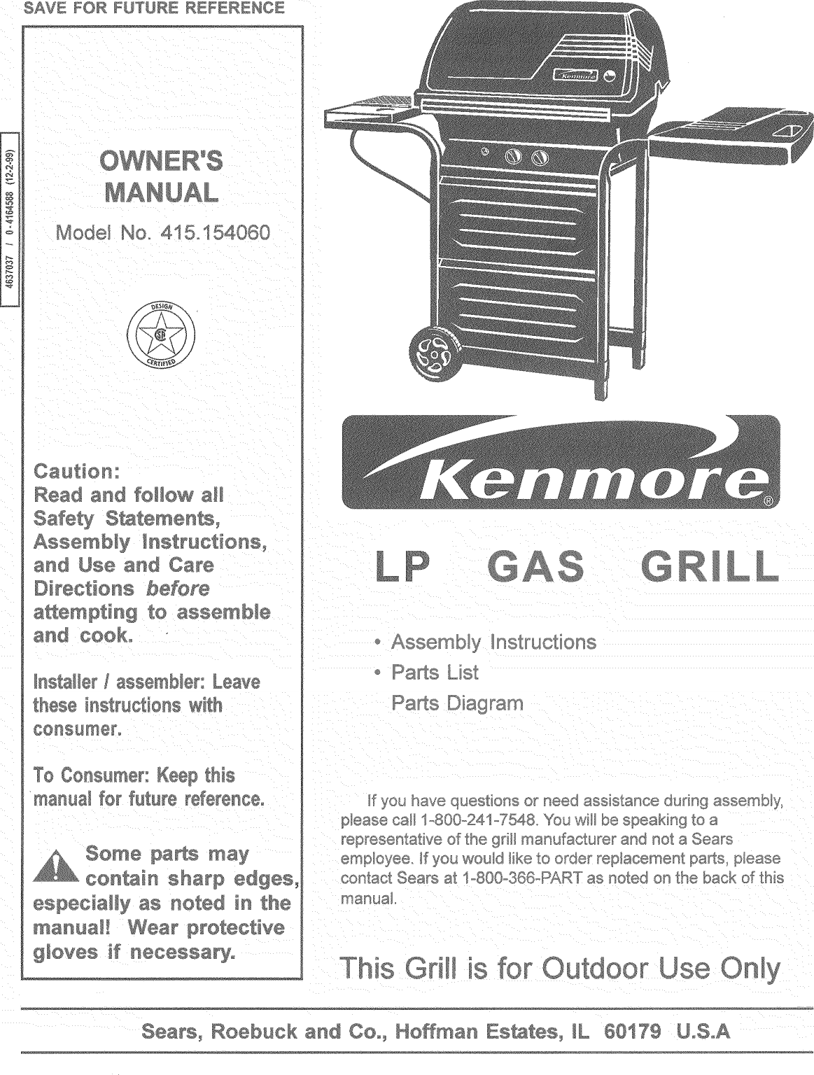 Kenmore 415154060 User Manual GAS GRILL Manuals And Guides