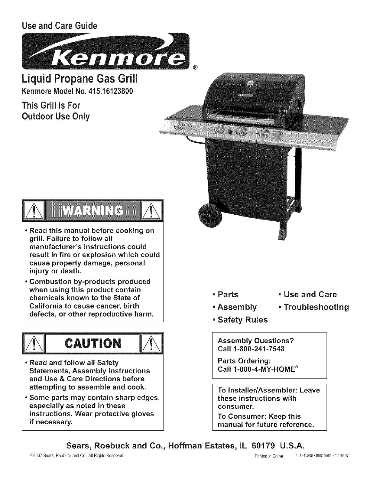 kenmore 41516123800 user manual liquid propane gas grill manuals and rh usermanual wiki kenmore 4 burner gas grill manual sears gas grill assembly