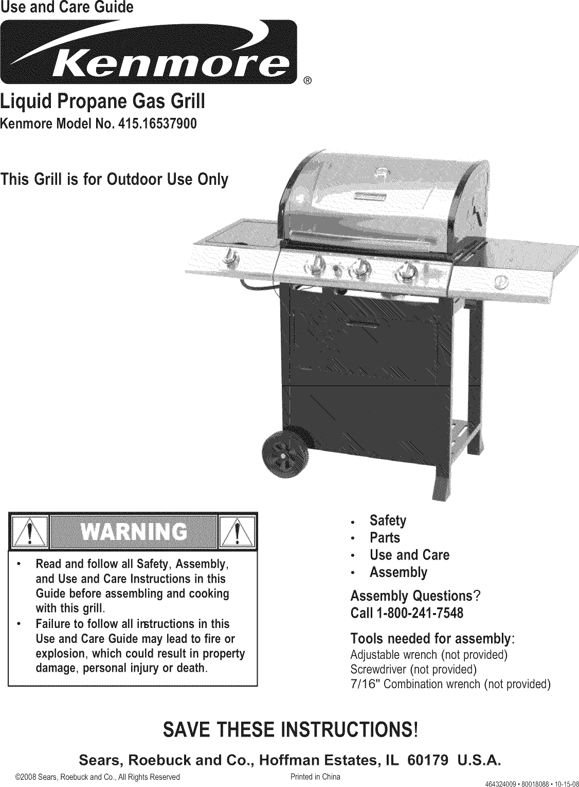 kenmore 41516537900 user manual gas grill manuals and guides l0812308 rh usermanual wiki Kenmore Elite Grill Kenmore Elite Grill