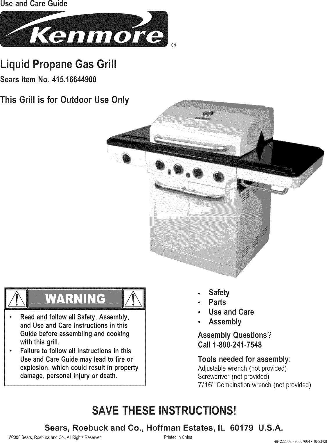 kenmore 41516644900 user manual gas grill manuals and