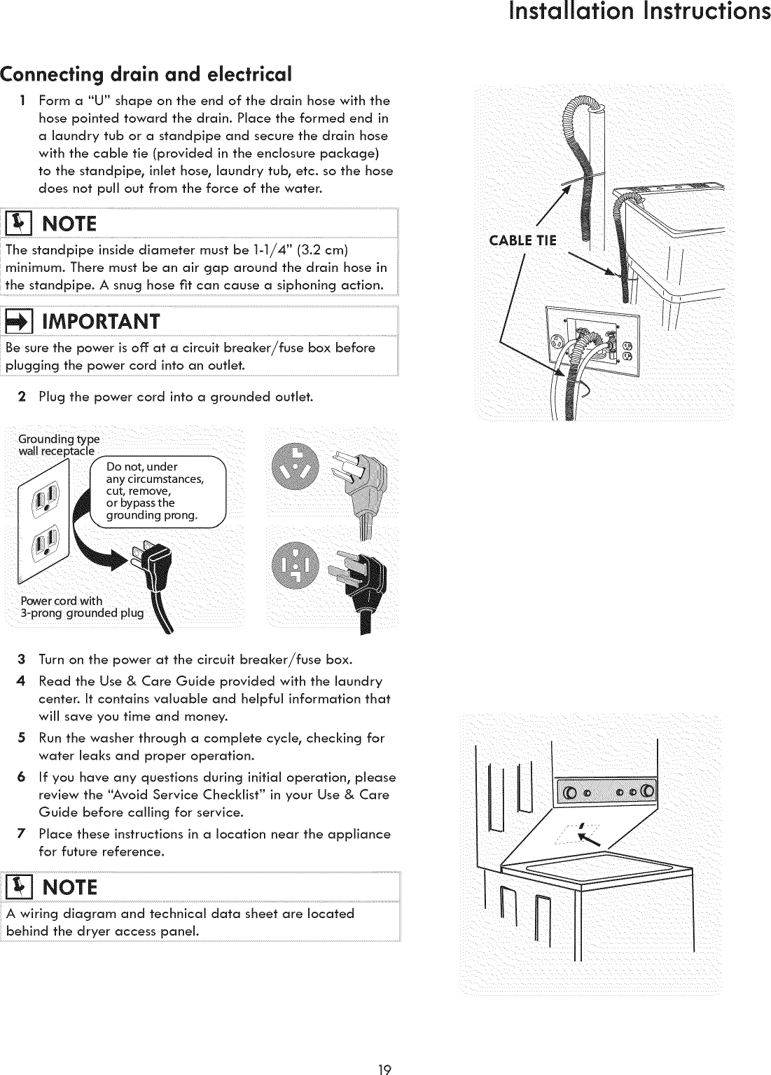 Kenmore 41761722510 User Manual Laundry Center Manuals And Guides Fuse Box Pull Outs Installation Instructionsconnecting Drain Electrical Form A Quotuquot Shape On The End