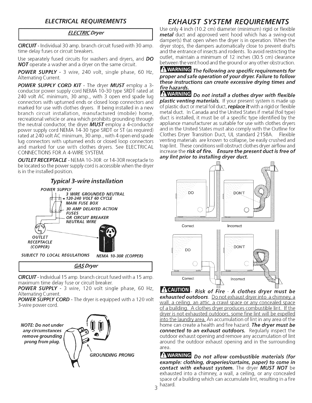Kenmore 41764182300 User Manual Electric Dryer Manuals And Guides Wiring Harness In Addition Power Cord Electrical Requirements