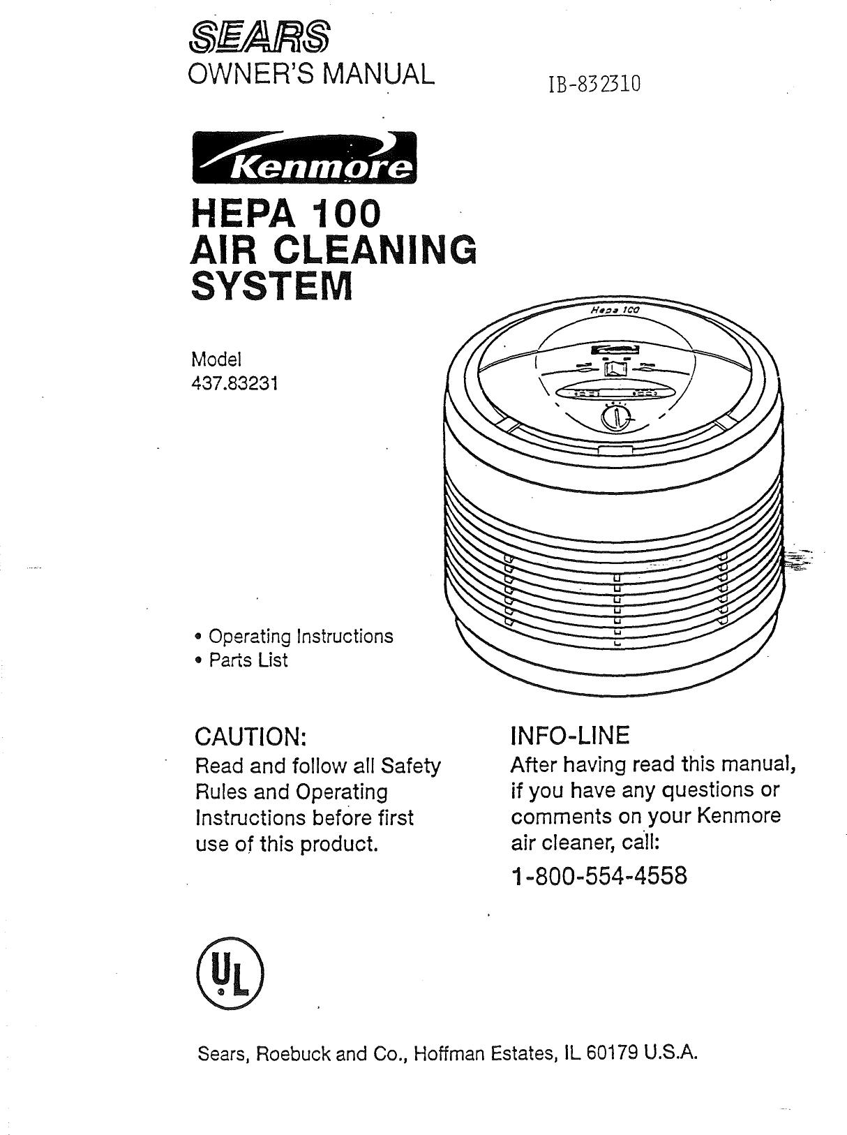 kenmore 43783231 user manual air cleaner manuals and guides l0810461 rh usermanual wiki Kenmore Electrostatic Air Cleaner Kenmore Electrostatic Air Cleaner