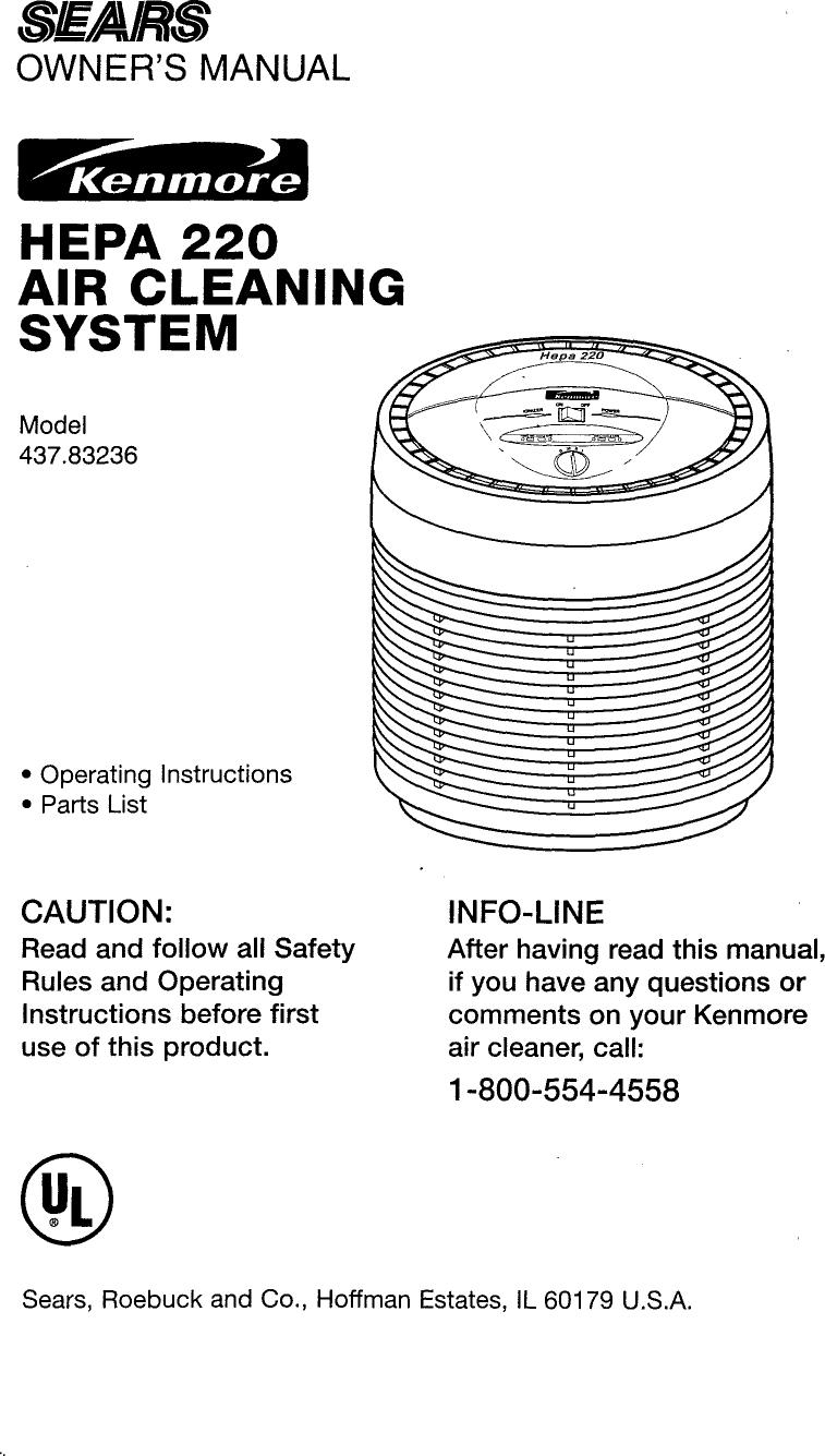 kenmore 43783236 user manual air cleaner manuals and guides l0810462 rh usermanual wiki Kenmore HEPA Air Filter Replacement Kenmore HEPA Air Filter Replacement