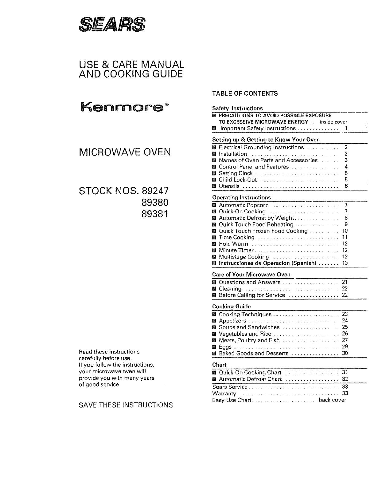 Kenmore 5658924790 User Manual