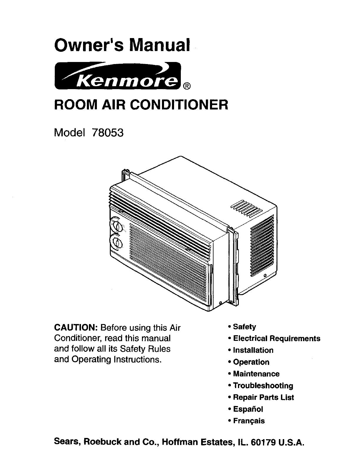 Kenmore 58078053890 User Manual Room Air Conditioner Manuals And Ceiling Fan Wiring Diagram Sears Roebuck Guides L0308383