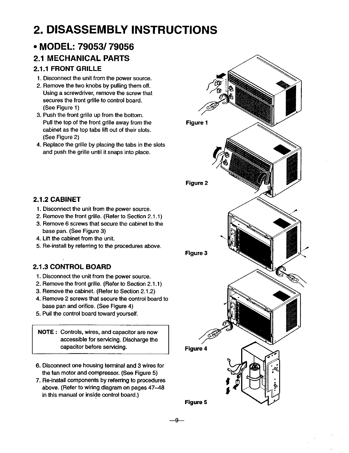 Kenmore 58079053890 User Manual Room Air Conditioner Manuals And Box Fan Wiring Diagram Disassembly Instructions