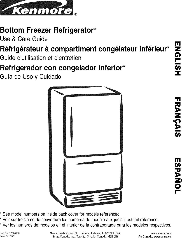 Kenmore 59666252400 User Manual Refrigerator Manuals And