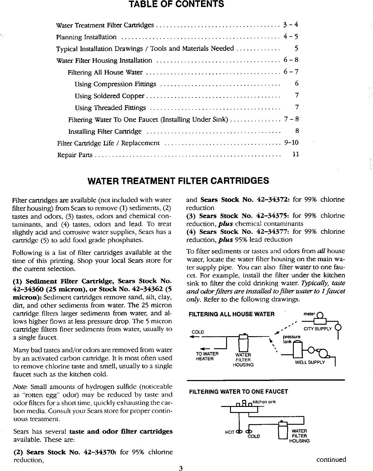 Kenmore 625343400 User Manual WATER FILTER HOUSING Manuals And ...