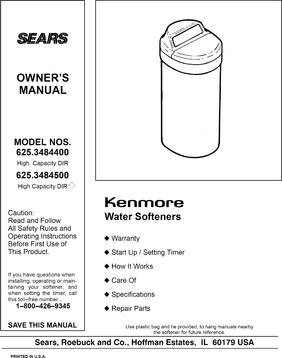 Kenmore 6253484400 User Manual Water Softener Manuals And Guides Wiring Schematic Lr708188