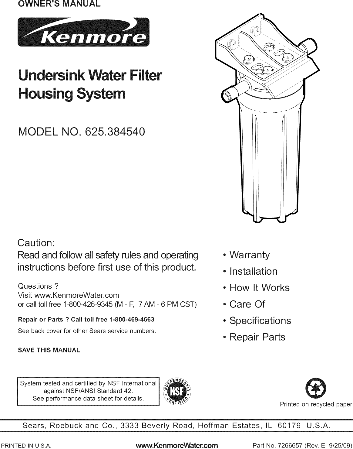 Kenmore 625384540 User Manual WATER FILTER Manuals And Guides L0911191