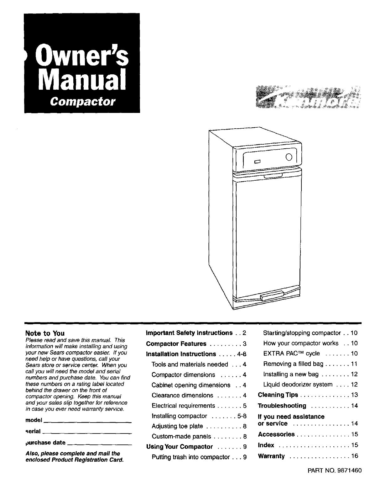 Kenmore 66513601790 User Manual COMPACTOR Manuals And Guides L0407345UserManual.wiki