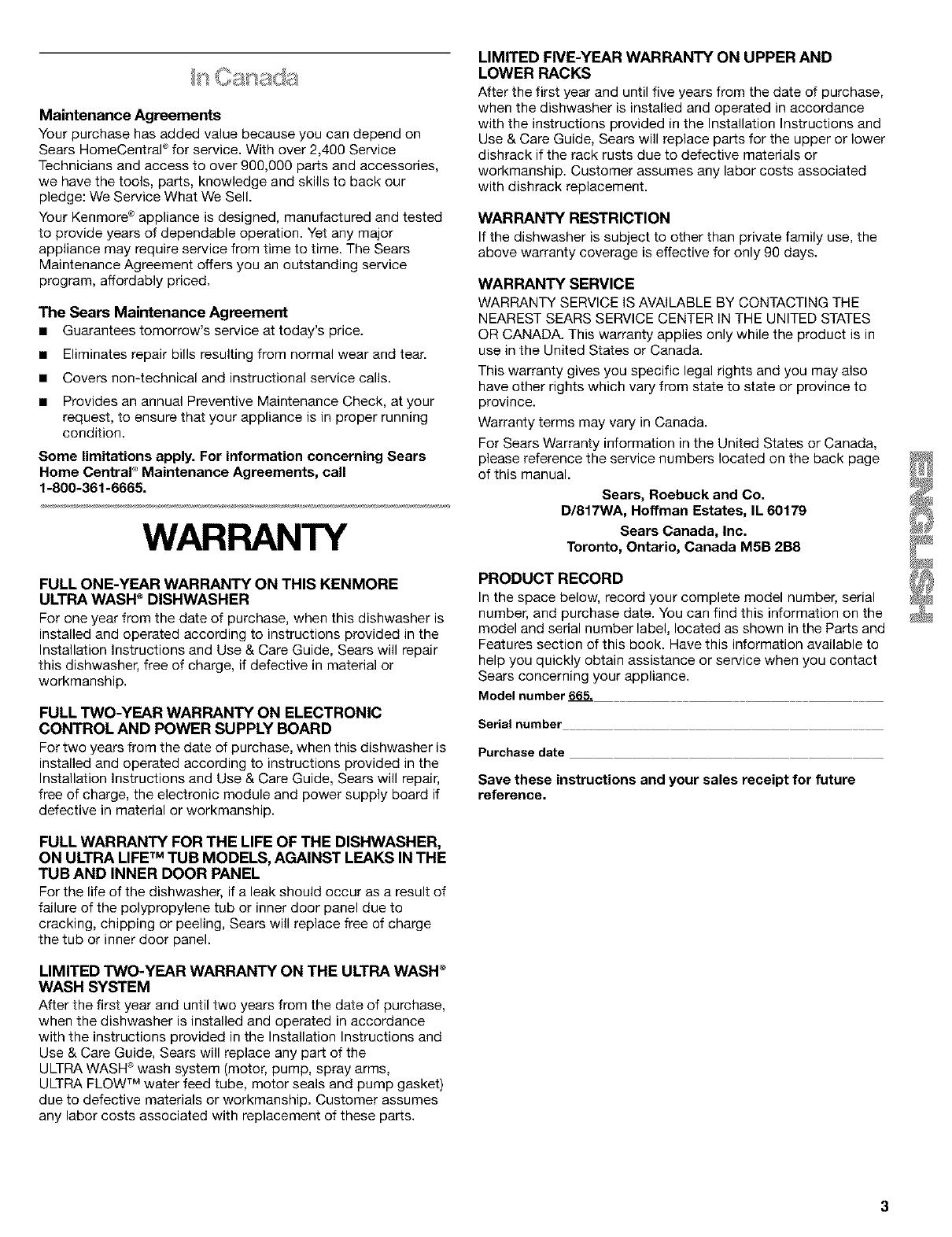 Kenmore 66515784300 User Manual DISHWASHER UNDERCOUNTER