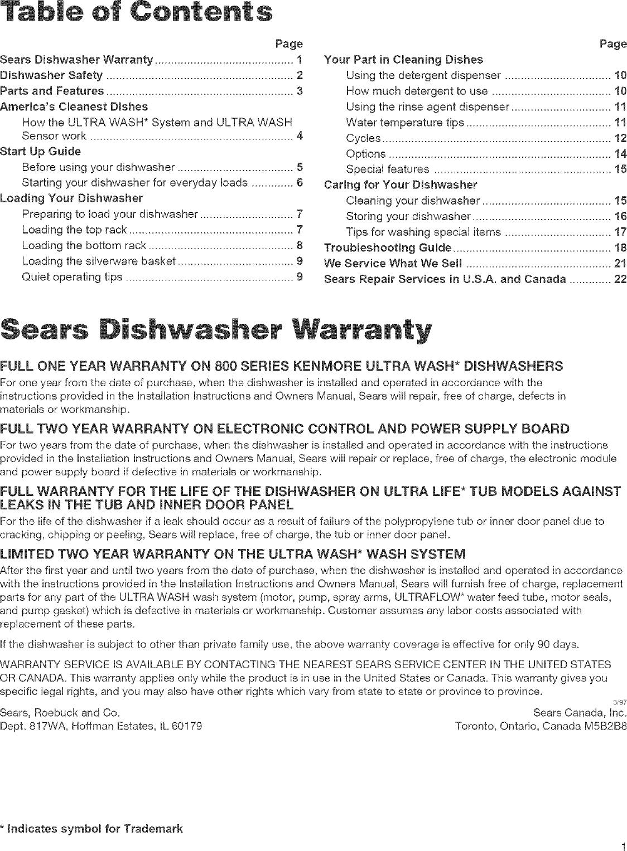 Kenmore Ultra Wash Dishwasher User Guide Parts Diagram On Pagesearsdishwasherwarranty Model 665 Manual