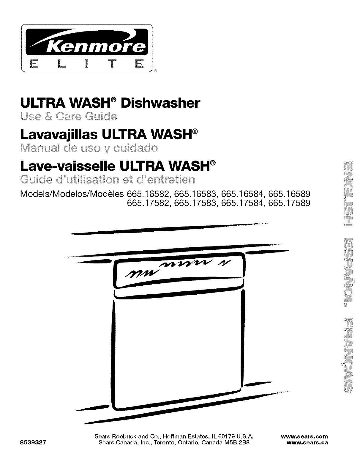 Kenmore 66516582201 User Manual UNDERCOUNTER DISHWASHER Manuals And Guides  L0504032