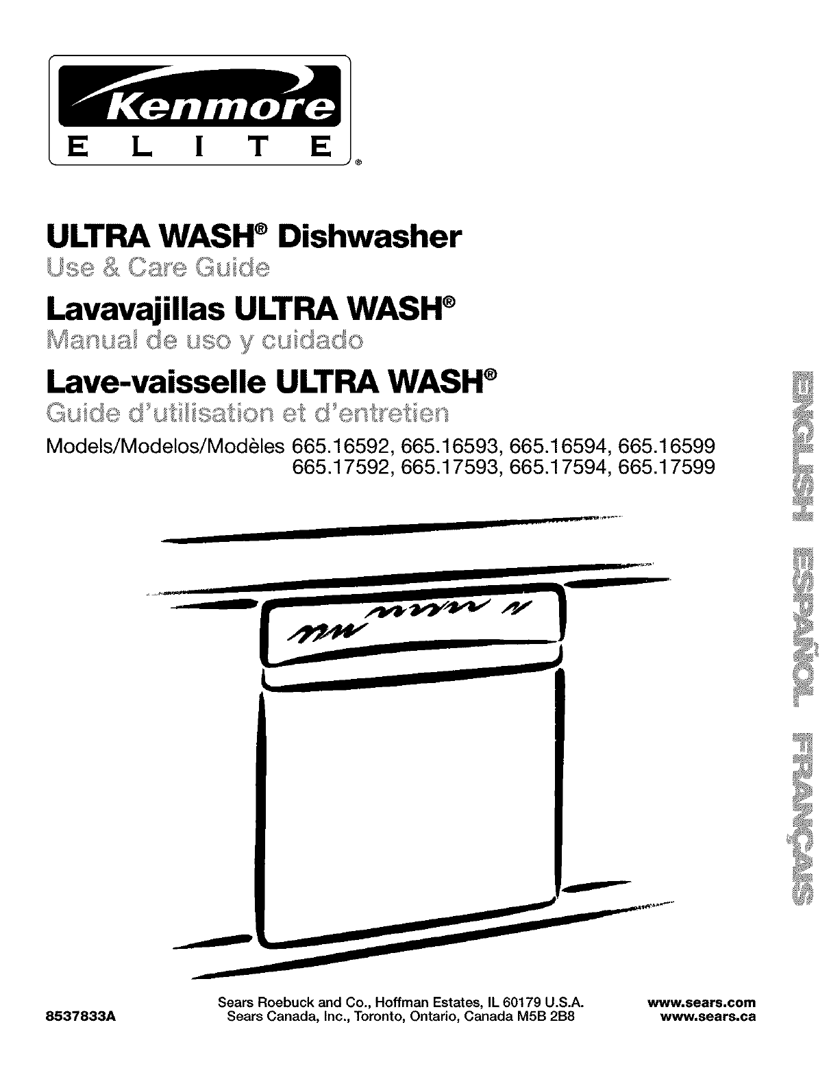 Kenmore 66516592200 User Manual UNDER COUNTER DISHWASHER ... on