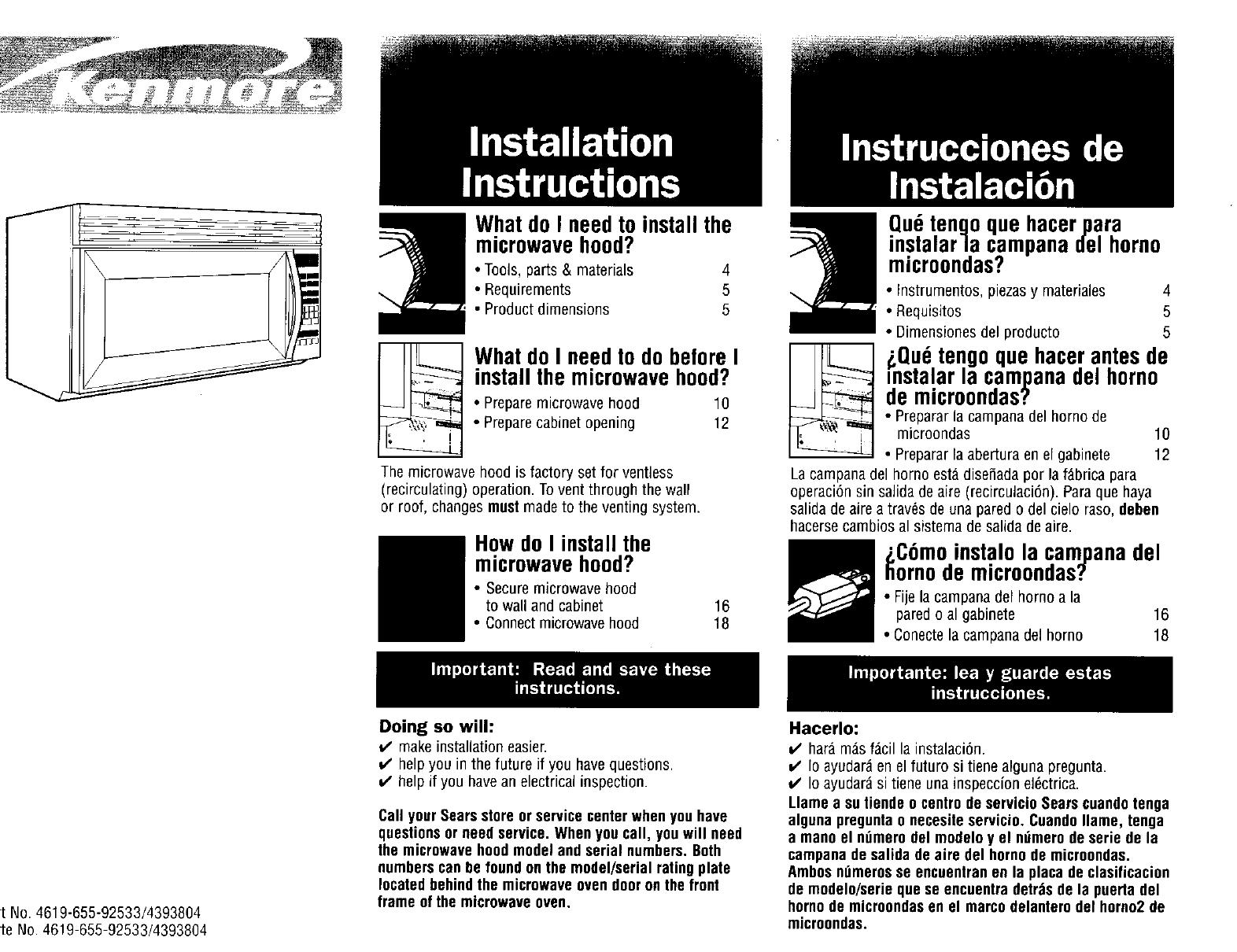 Microwave Oven Hood Combo Manuals