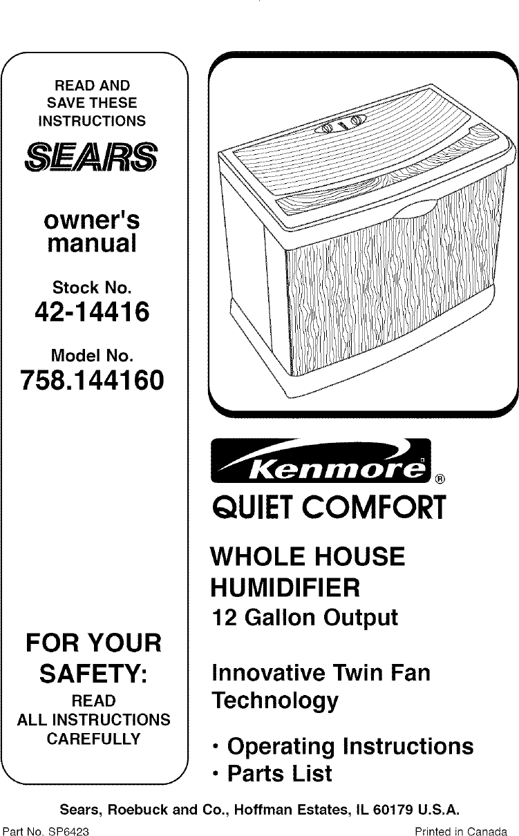 21a5c02234cf Kenmore 758144160 User Manual HUMIDIFIER Manuals And Guides L0411293