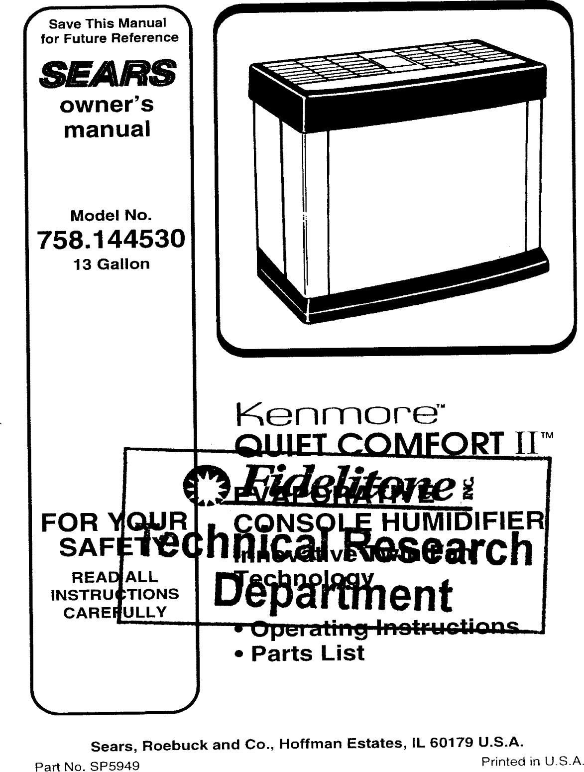 Kenmore Kenmore Humidifier Parts Manual Guide
