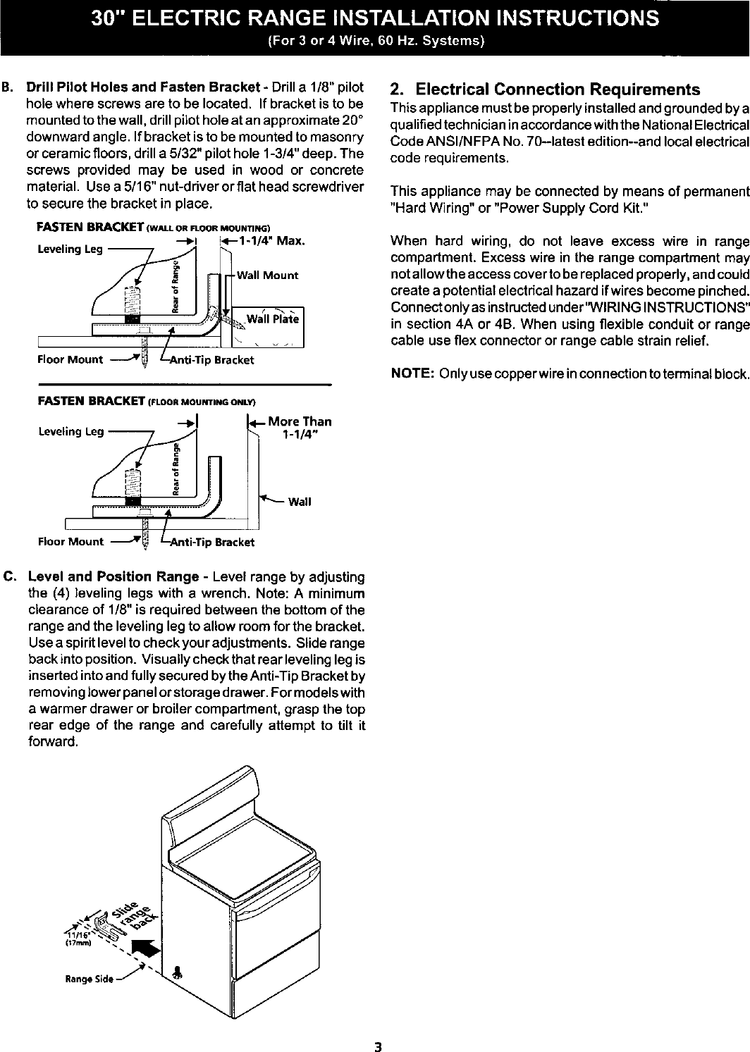 Kenmore 79060031100 User Manual Electric Range Manuals And Guides 4 Wire Stove Wiring Diagram Page 3 Of 6 L0207021