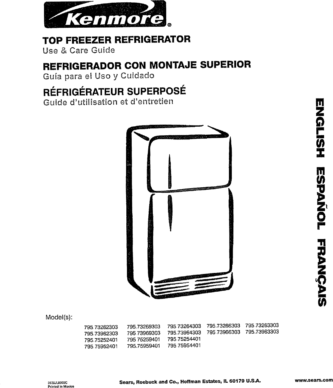 Kenmore 79573262303 User Manual TOP MOUNT REFRIGERATOR
