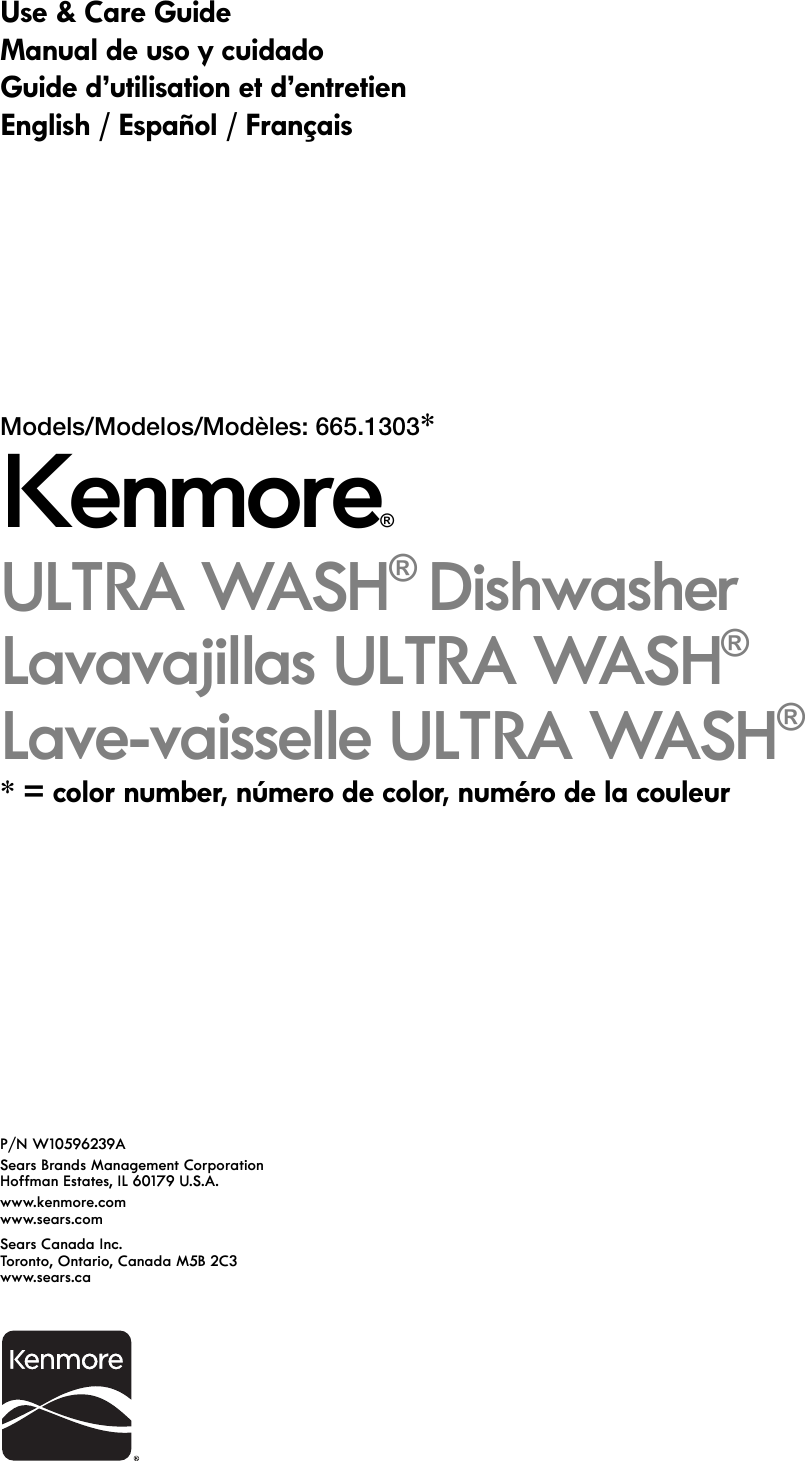 Kenmore 13032 Owner S Manual W10596239A