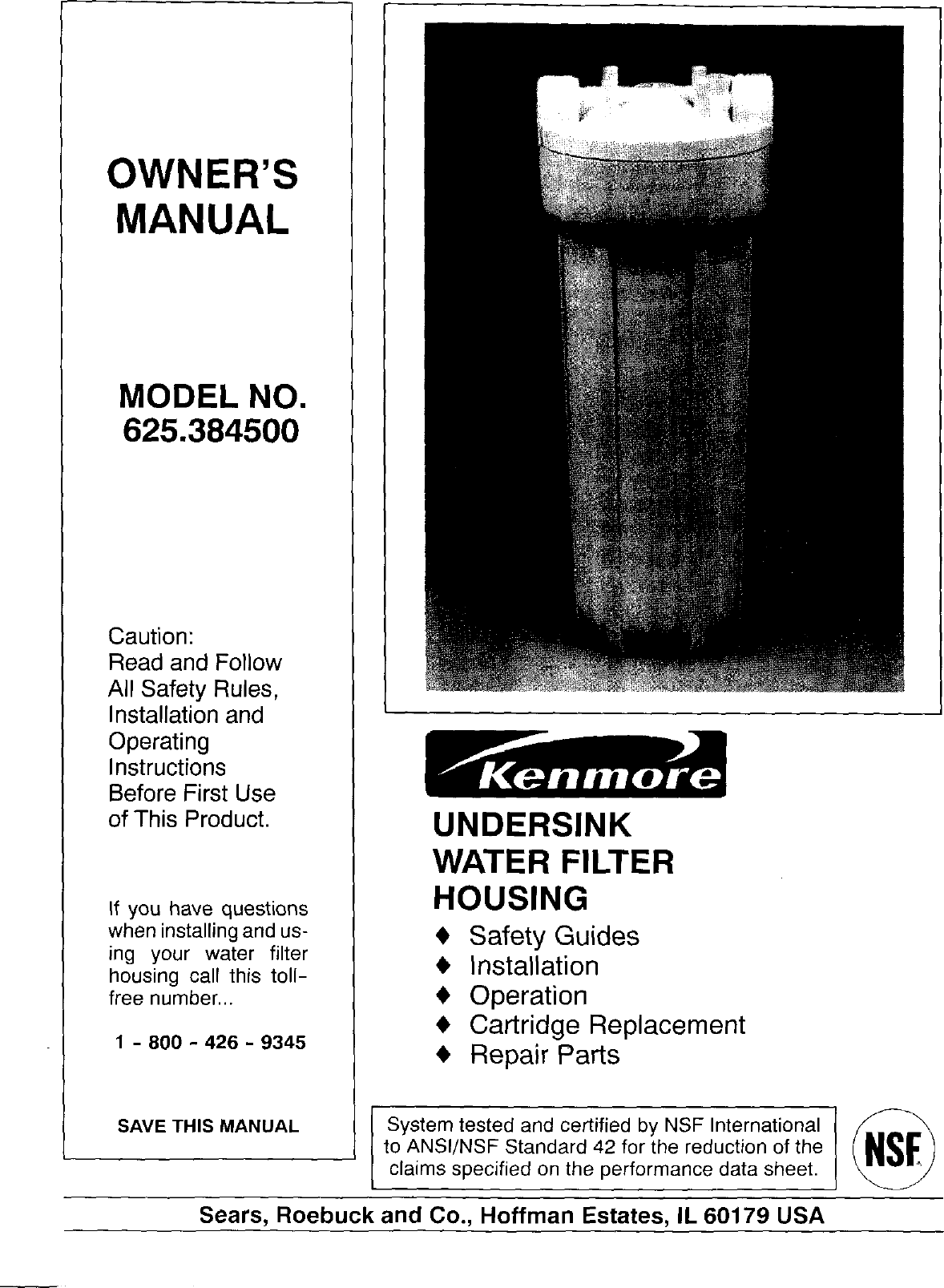 Kenmore 625 3845 Users Manual