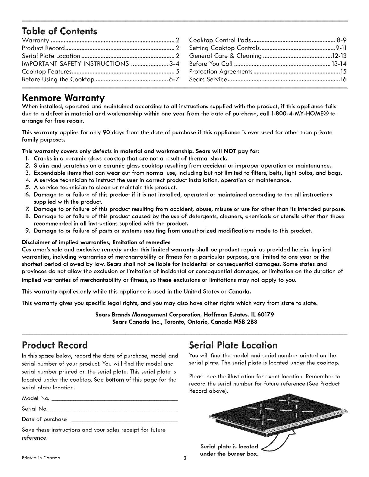 Kenmore 790 4382 Users Manual