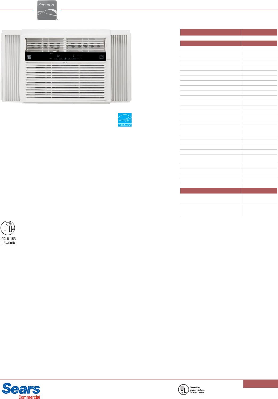 kenmore 10000 btu room air conditioner specifications