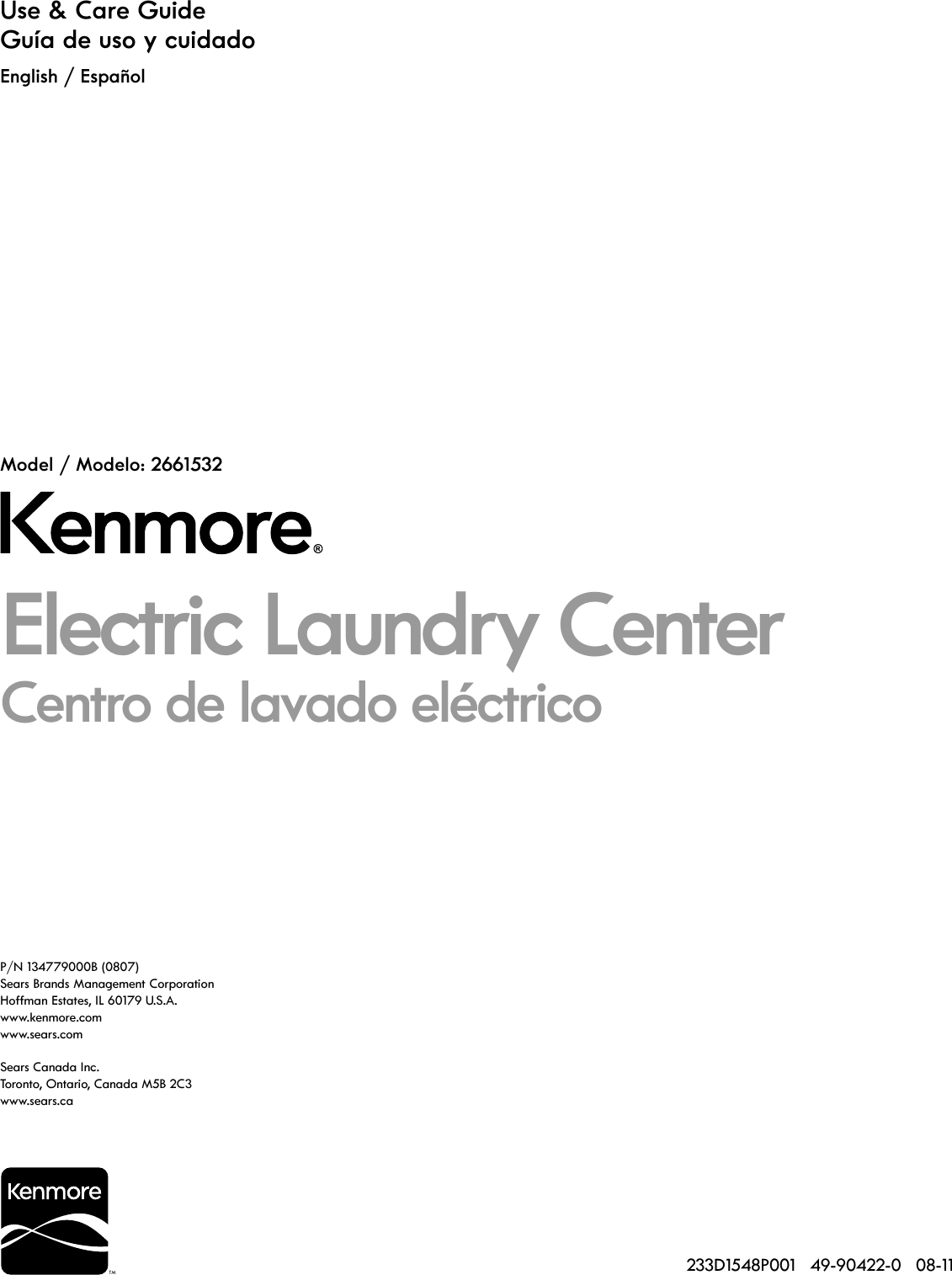 Kenmore 27 Laundry Center W Electric Dryer Specifications 2011.09.06 ...