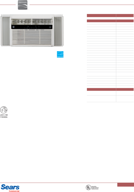 kenmore 5200 btu room air conditioner specifications