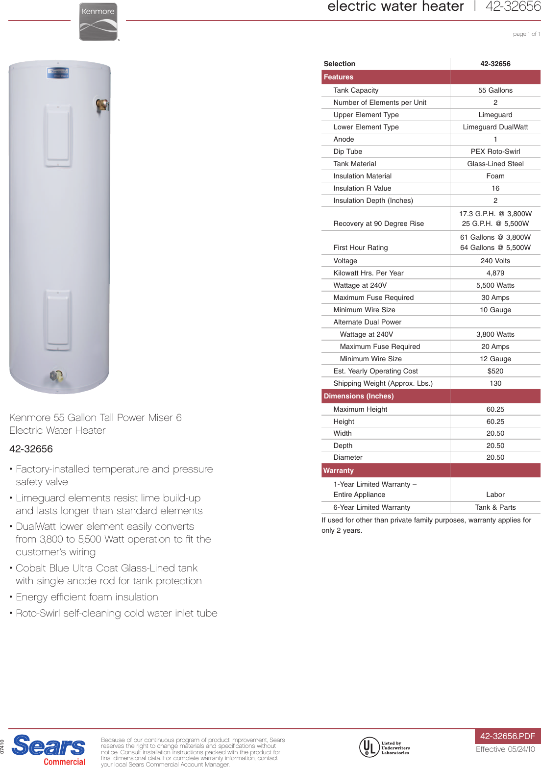 Kenmore 55 Gal Tall 6 Year Electric Water Heater Specifications Building Wiring Installation Tutorial Pdf