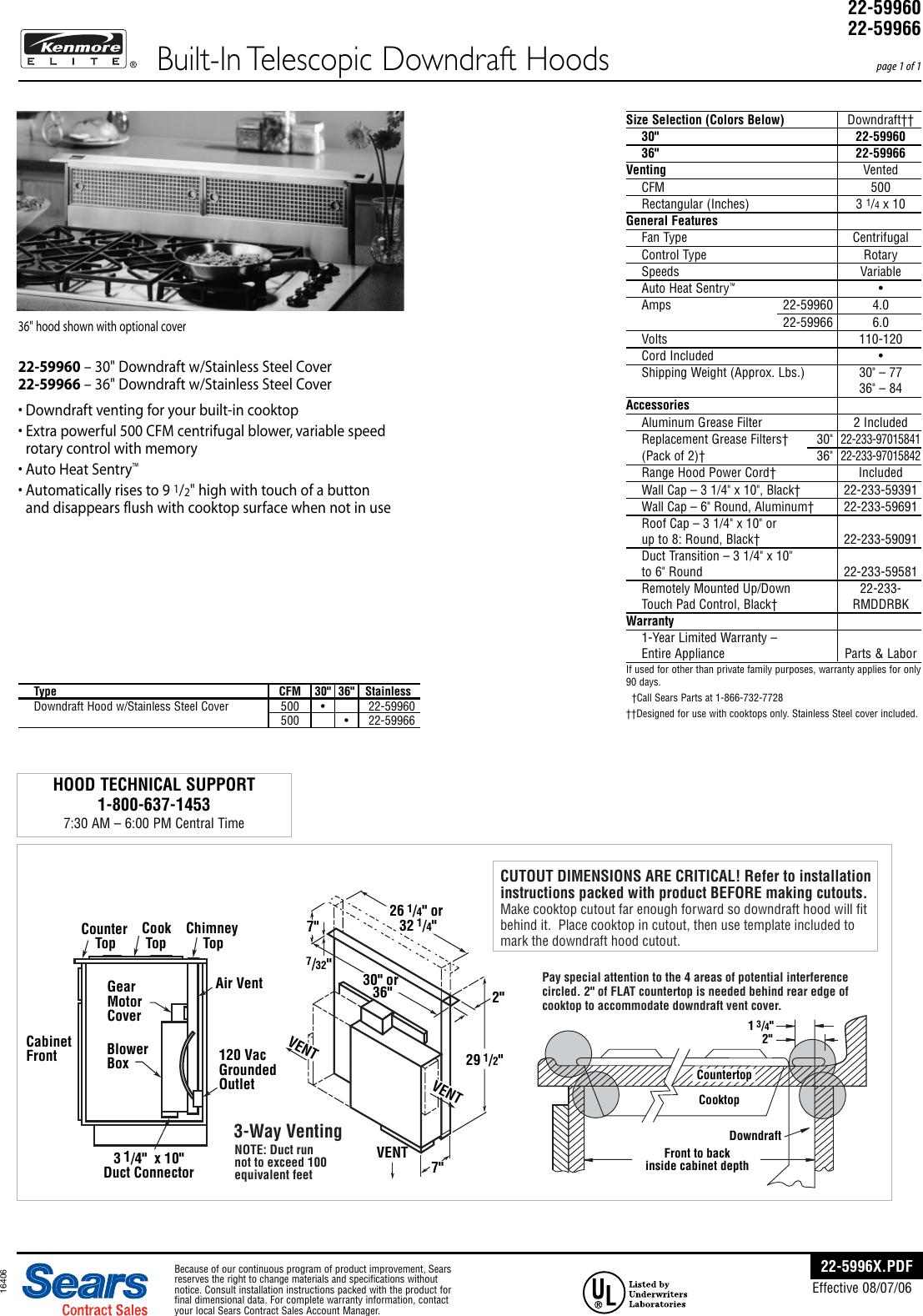 Kenmore Elite 30 Down Hood 59960 Installation Guide